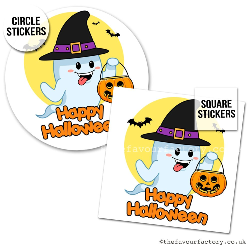 Happy Halloween Stickers Cute Trick or Treat Ghost - x1 A4 Sheet