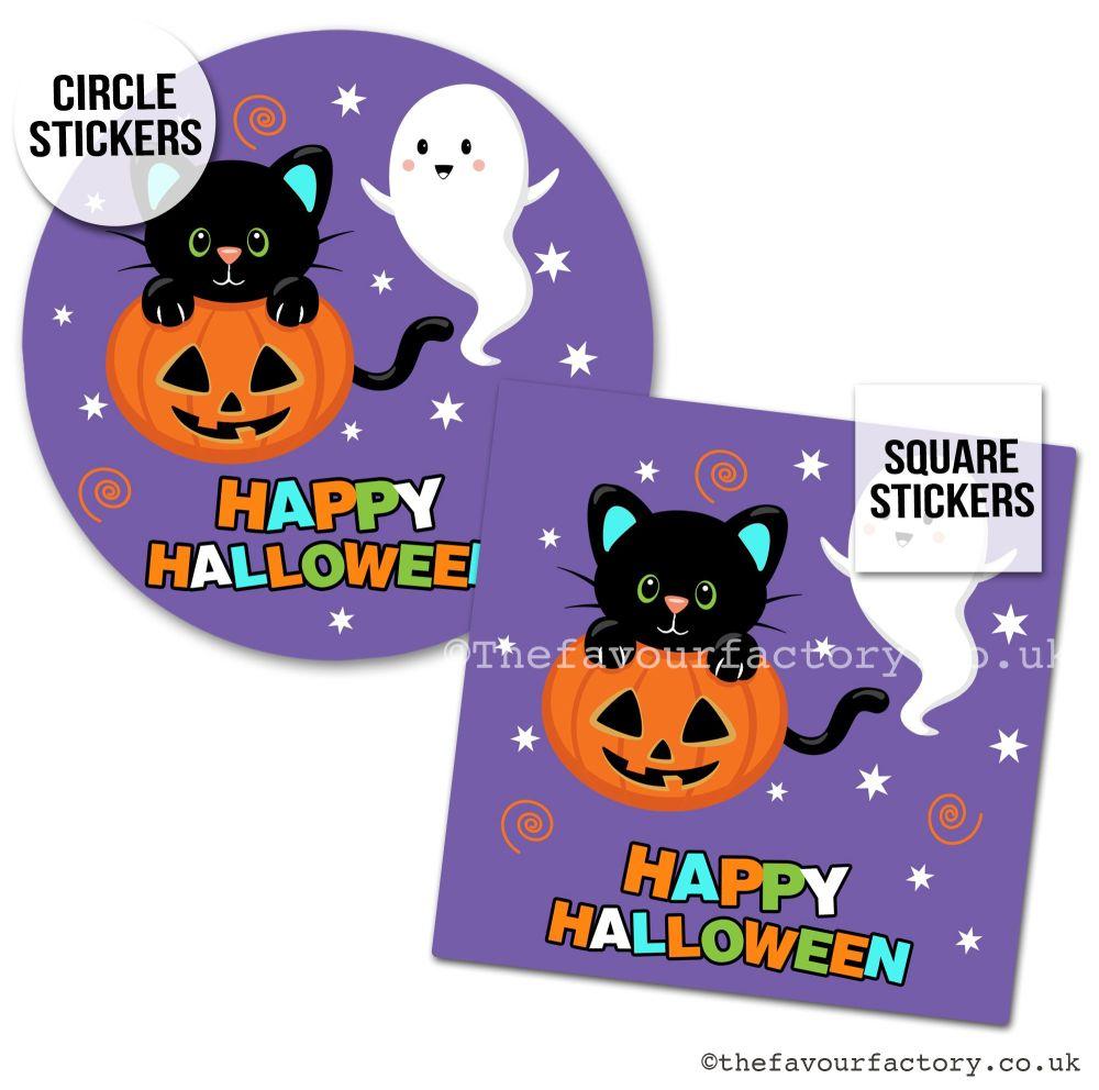 Happy Halloween Stickers Cute Halloween Friends - x1 A4 Sheet