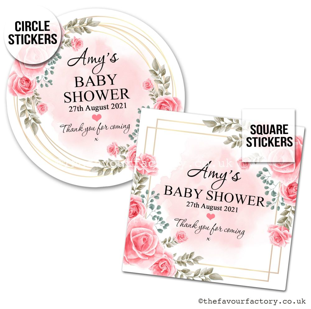 Baby Shower Favour Stickers Boho Pink Roses x1