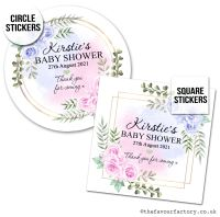 Baby Shower Favour Stickers Pink And Blue Roses x1