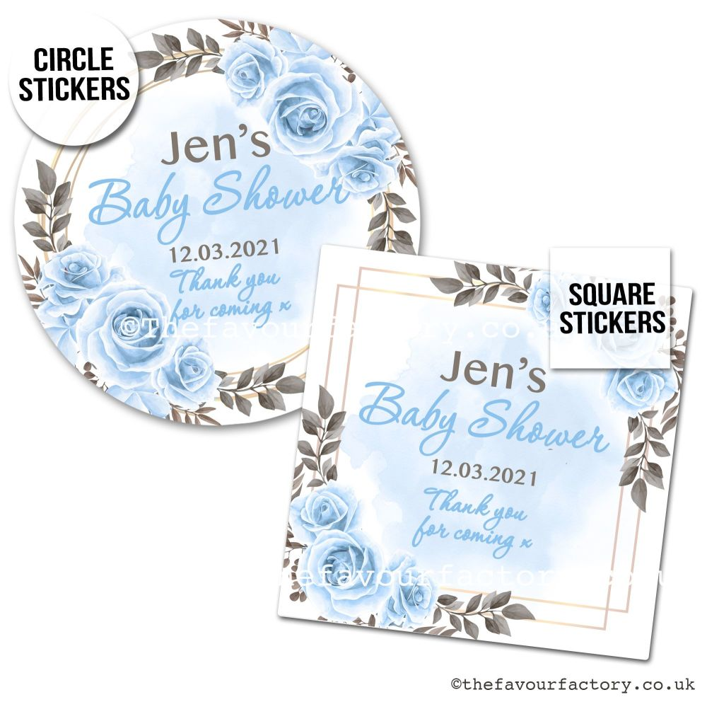 Baby Shower Favour Stickers Boho Blue Roses x1