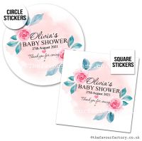 Baby Shower Favour Stickers Watercolour Splash Pink Roses x1
