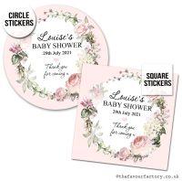 Baby Shower Favour Stickers Vintage Floral Wreath x1