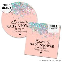 Baby Shower Favour Stickers Rose Gold Iridescent Glitter - A4 Sheet x1