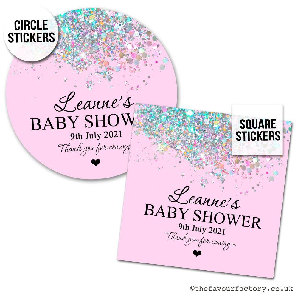 Baby Shower Favour Stickers Baby Pink Iridescent Glitter - A4 Sheet x1
