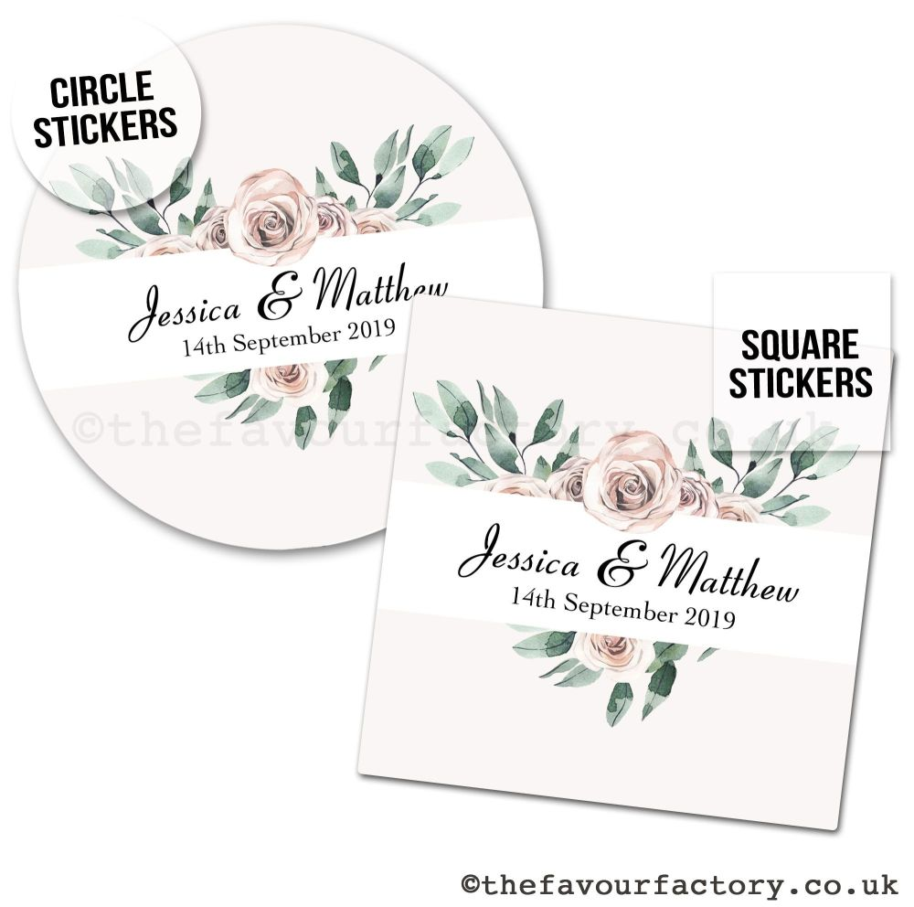 Wedding Favour Stickers Floral Heart - A4 Sheet x1