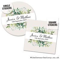Wedding Favour Stickers Foliage Botanical Leaves - A4 Sheet x1