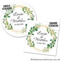 Wedding Favour Stickers Foliage Botanical Gold Dust - A4 Sheet x1