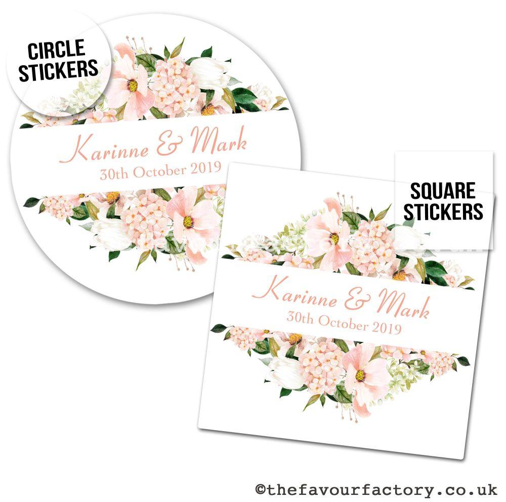 Wedding Favour Stickers Blush Hydrangeas Frame - A4 Sheet x1