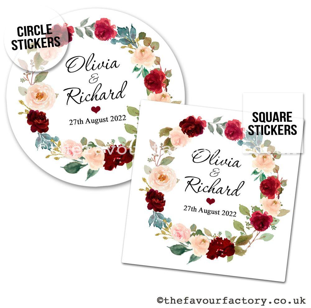Wedding Favour Stickers Burgundy Blush Floral Wreath - A4 Sheet x1