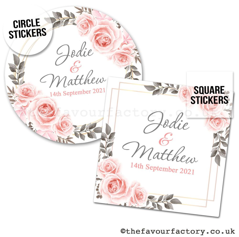 Wedding Favour Stickers Blush Roses - A4 Sheet x1