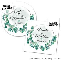 Wedding Favour Stickers Botanical Leaves Frame - A4 Sheet x1