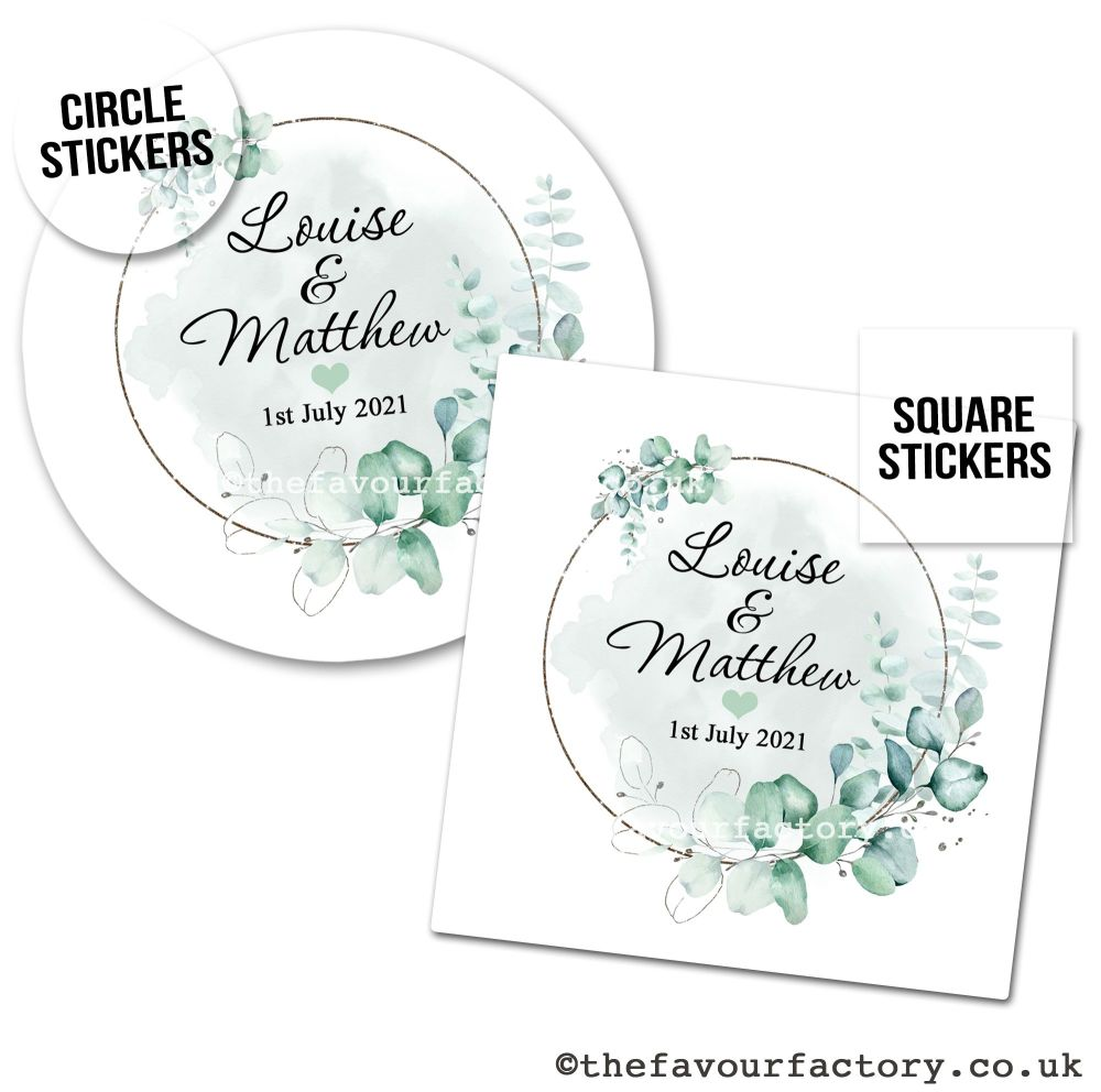 Wedding Favour Stickers Botanical Eucalyptus Frame - A4 Sheet x1