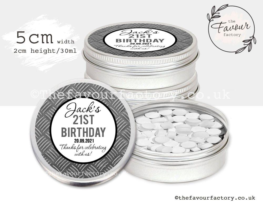 Adult Birthday Favour Tins Steel Texture Pattern x1