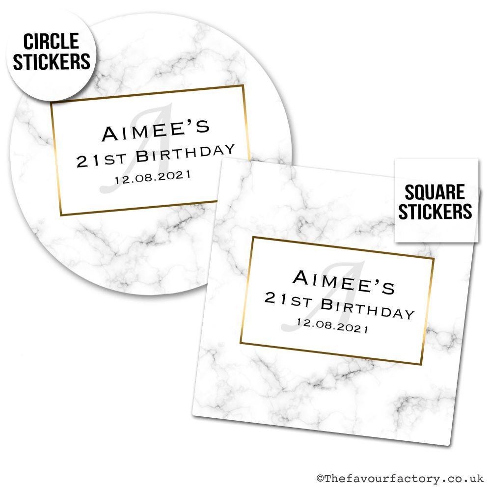 Birthday Favour Stickers Modern Marble Monogram - A4 Sheet x1