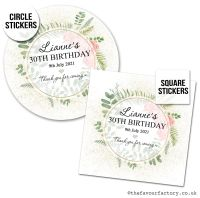 Birthday Favour Stickers Botanical Gold Dust Roses - A4 Sheet x1