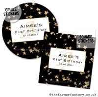 Birthday Favour Stickers Gold Polka Dot Stars - A4 Sheet x1