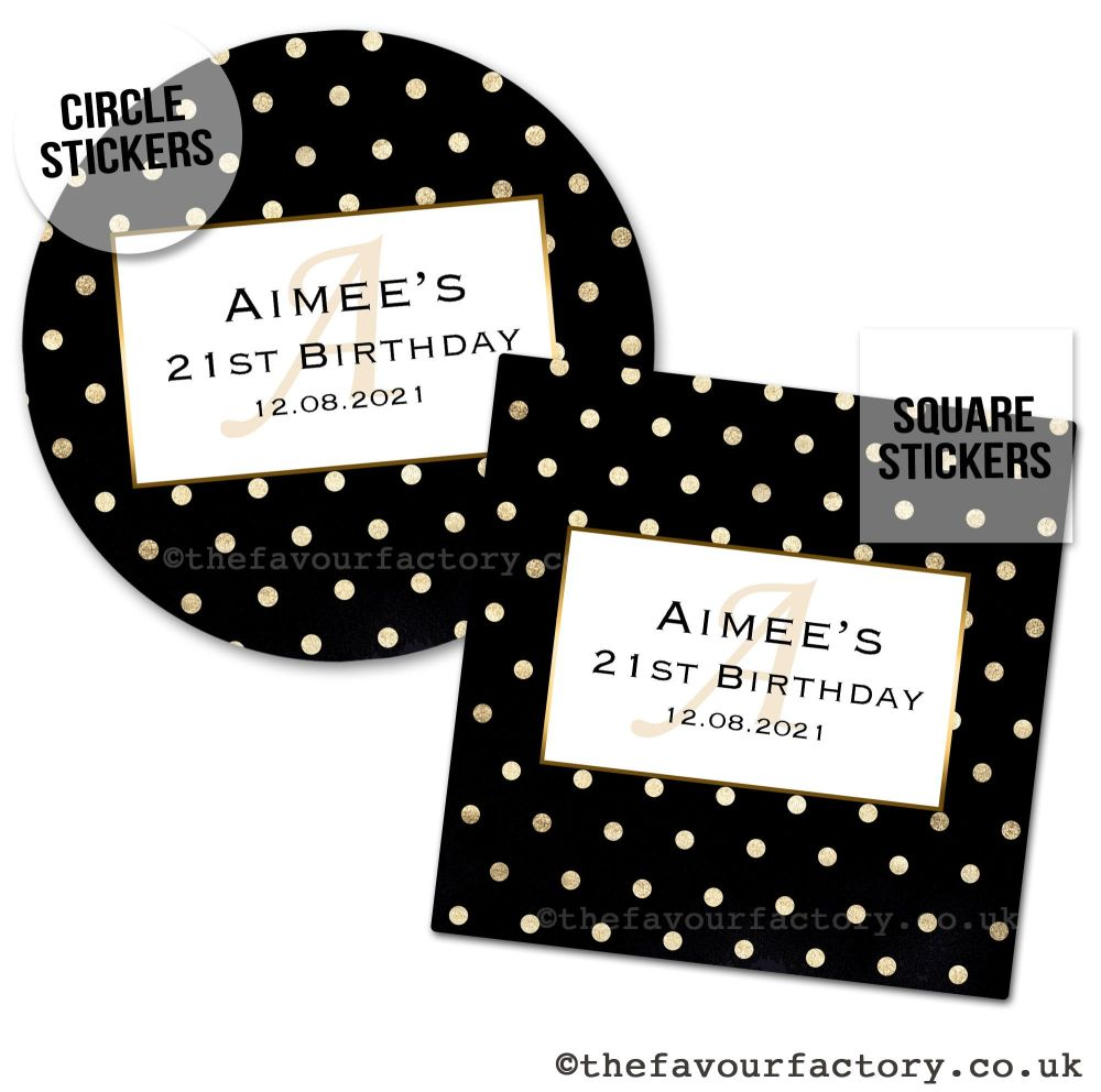 Birthday Favour Stickers Gold Polka Dots - A4 Sheet x1