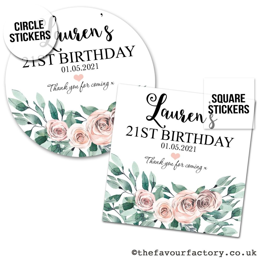 Birthday Favour Stickers Boho Floral Bouquet - A4 Sheet x1