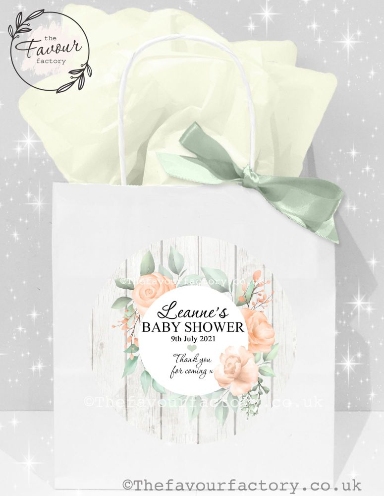 Baby Shower Party Bags Rustic Boho Floral Frame x 1