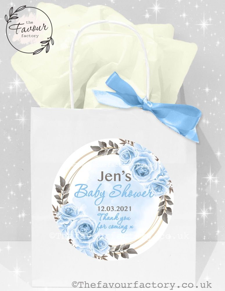 Baby Shower Party Bags Blue Roses x 1