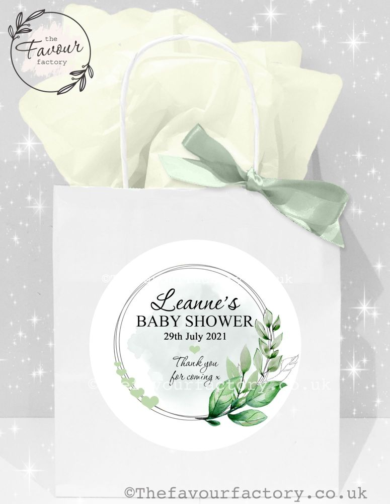Baby Shower Party Bags Botanical Leaves And Hearts Frame x 1