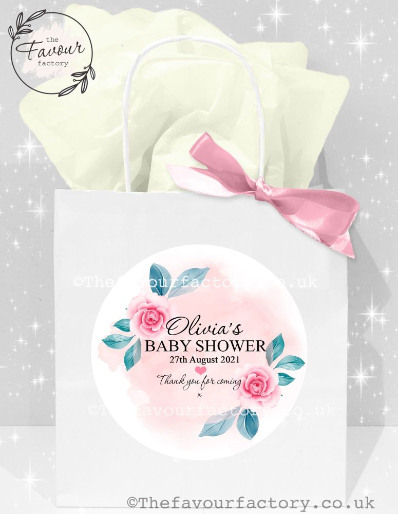 Baby Shower Party Bags Pink Floral Rainbow x 1