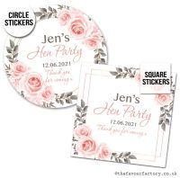 Hen Party Favour Stickers Boho Blush Roses x1