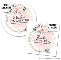 Hen Party Favour Stickers Boho Blush Floral Grey Leaves x1
