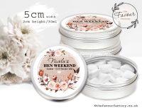 Hen Party Favour Tins Autumn Florals Burlap Frame x1