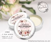 Hen Party Lip Balms Favours Autumn Watercolour Floral Frame x1