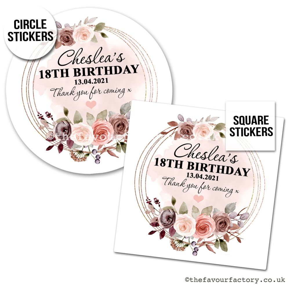 Birthday Favour Stickers Autumn Floral Frame - A4 Sheet x1