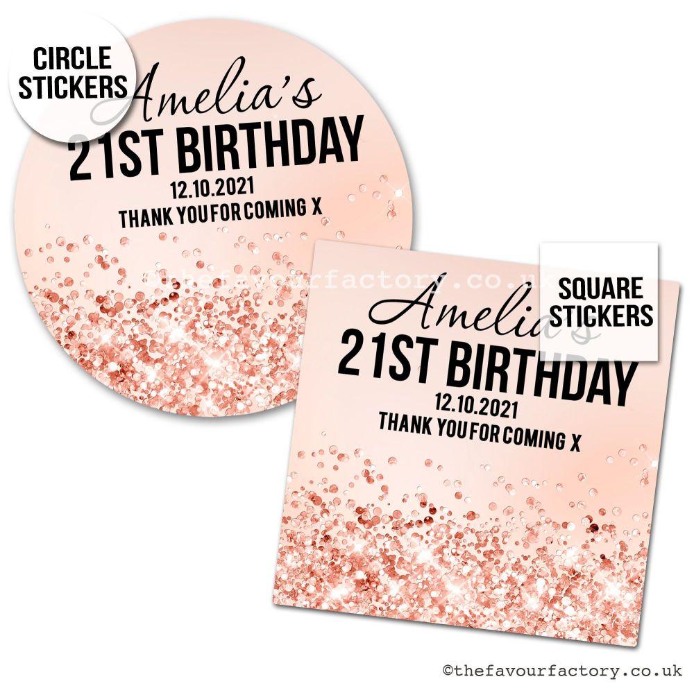 Birthday Favour Stickers Rose Gold Glitter Confetti - A4 Sheet x1