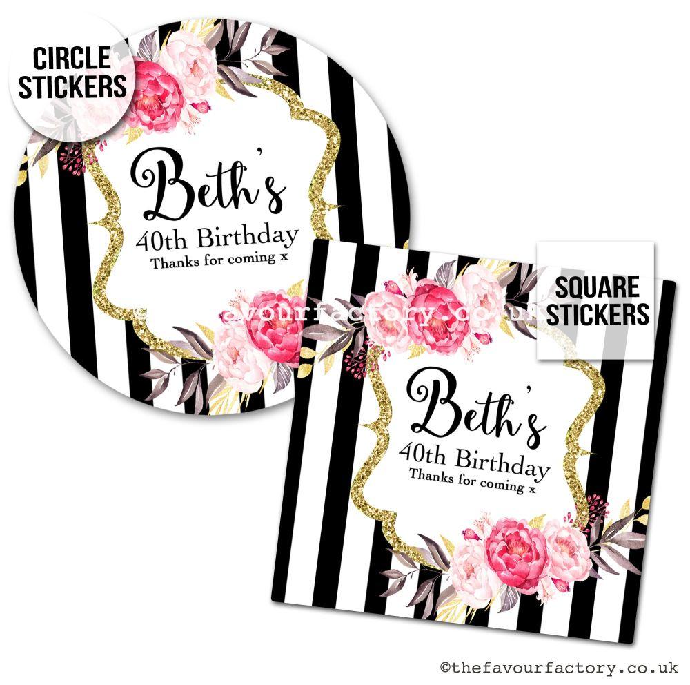 Birthday Favour Stickers Black Stripe Florals - A4 Sheet x1
