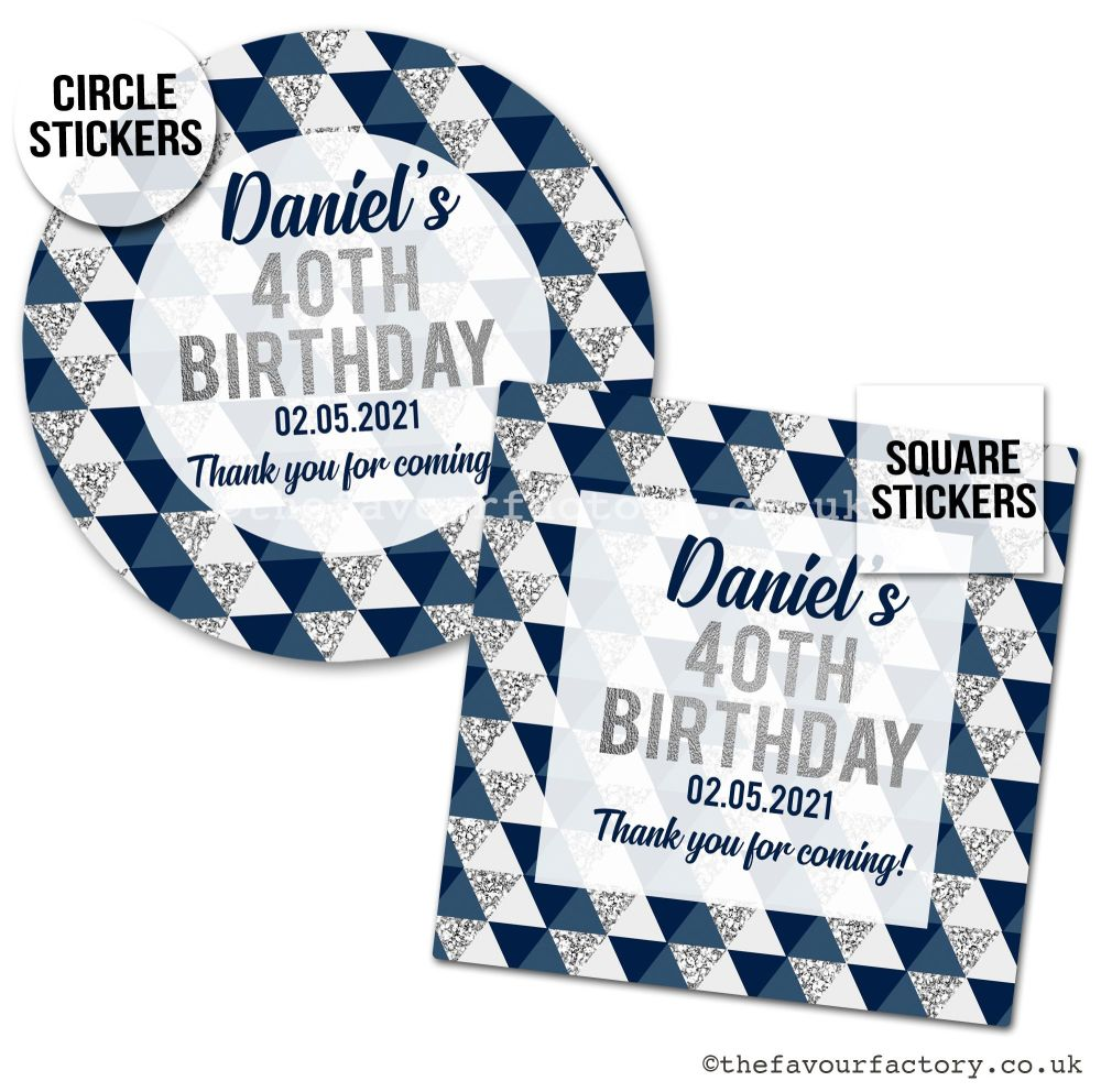 Birthday Favour Stickers Silver And Navy Geometric Triangles - A4 Sheet x1