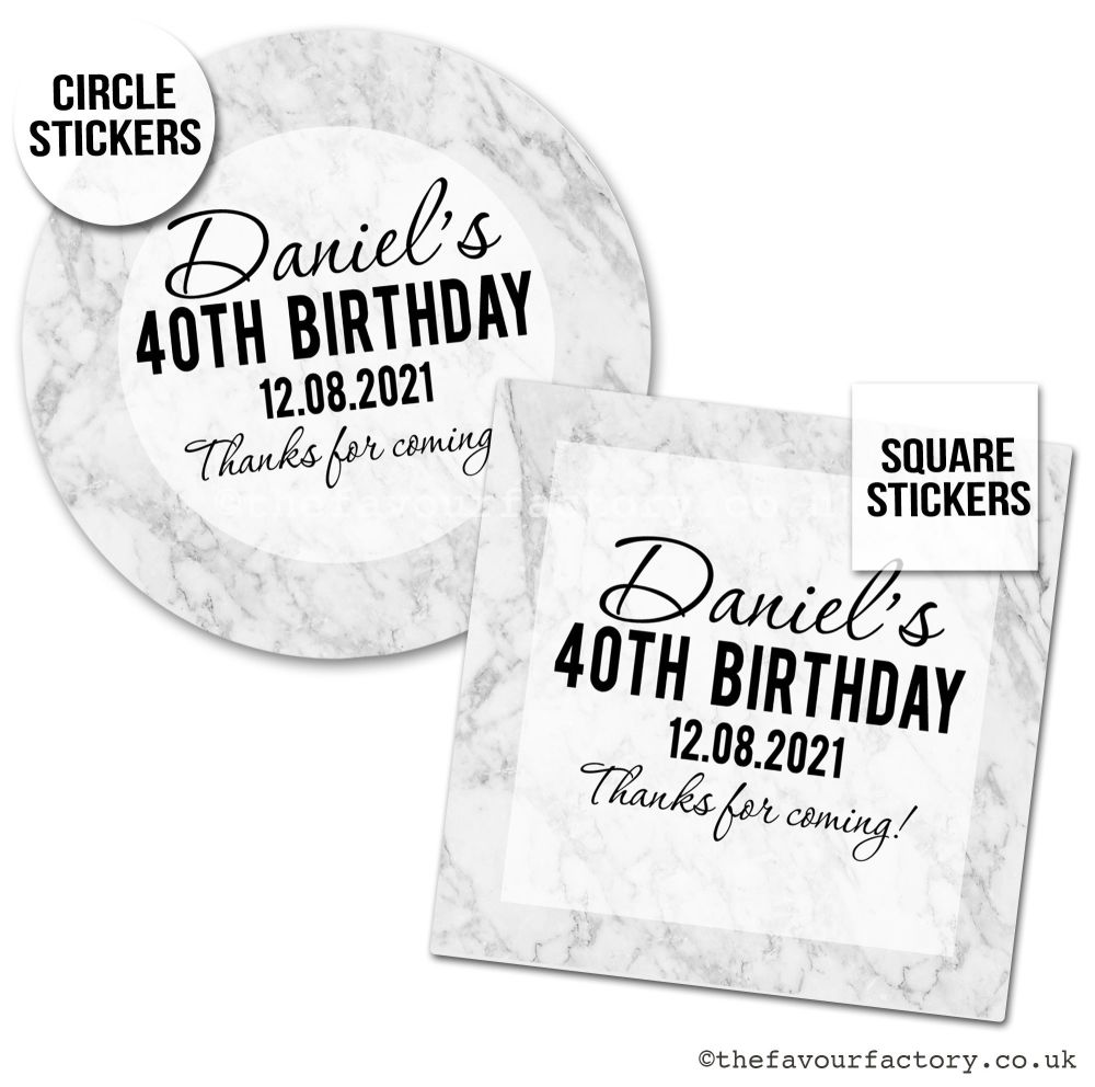 Birthday Favour Stickers Modern Marble - A4 Sheet x1