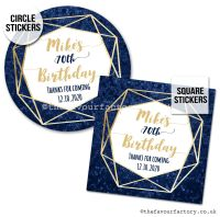 Birthday Favour Stickers Navy And Gold Geometric Frame - A4 Sheet x1
