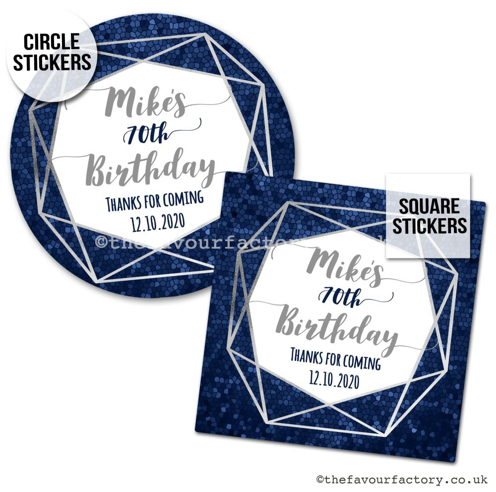 Birthday Favour Stickers Navy And Silver Geometric Frame - A4 Sheet x1