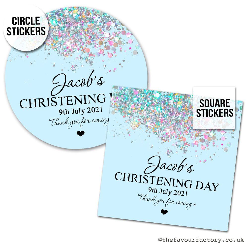 Christening Favour Stickers Baby Blue Iridescent Glitter - A4 Sheet x1