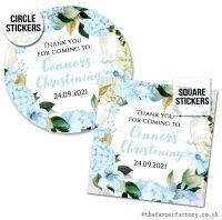Christening Favour Stickers Blue Hydrangeas - A4 Sheet x1
