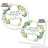 Christening Favour Stickers Botanical Gold Dust - A4 Sheet x1