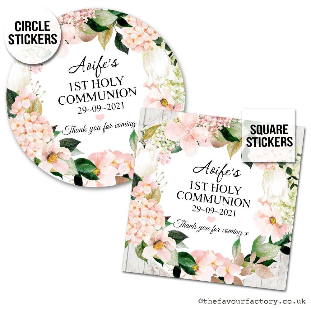 Holy Communion Favour Stickers Blush Hydrangeas x1