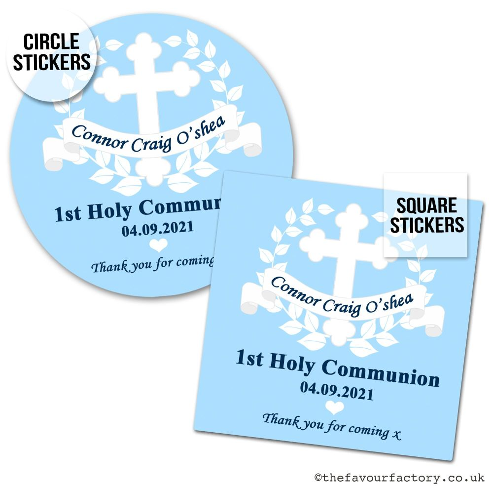 Holy Communion Favour Stickers Blue Banner And Cross x1