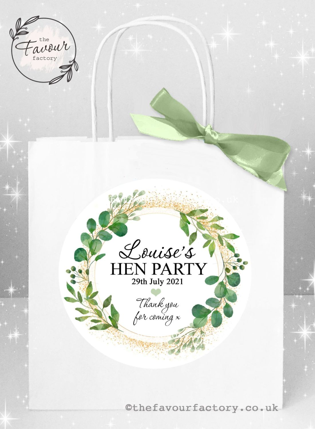 Personalised Hen Party Bags Botanical Gold Dust x 1