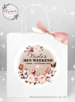 Personalised Hen Party Bags Autumn Florals Burlap Frame x 1