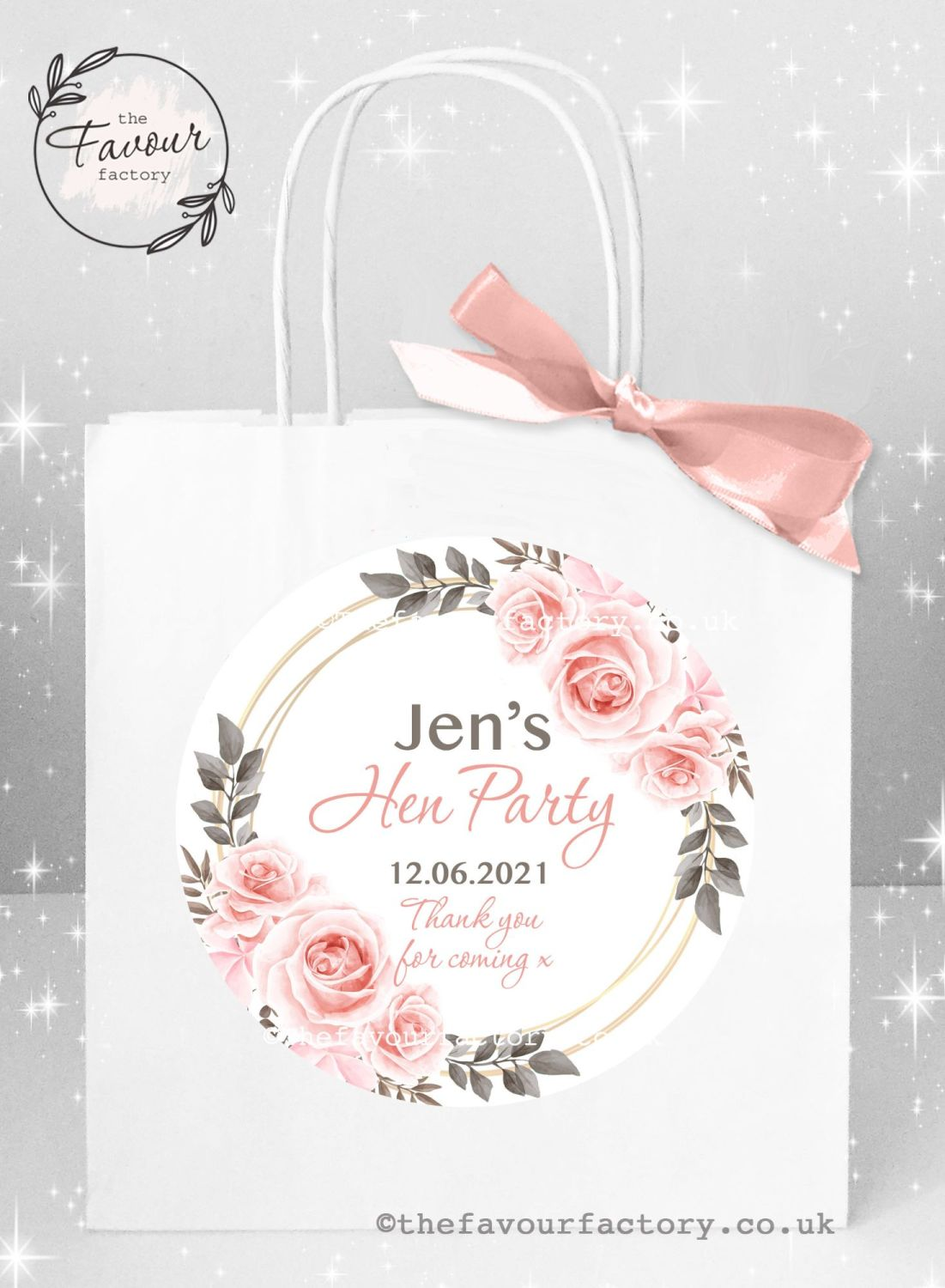 Personalised Hen Party Bags Blush Roses x 1