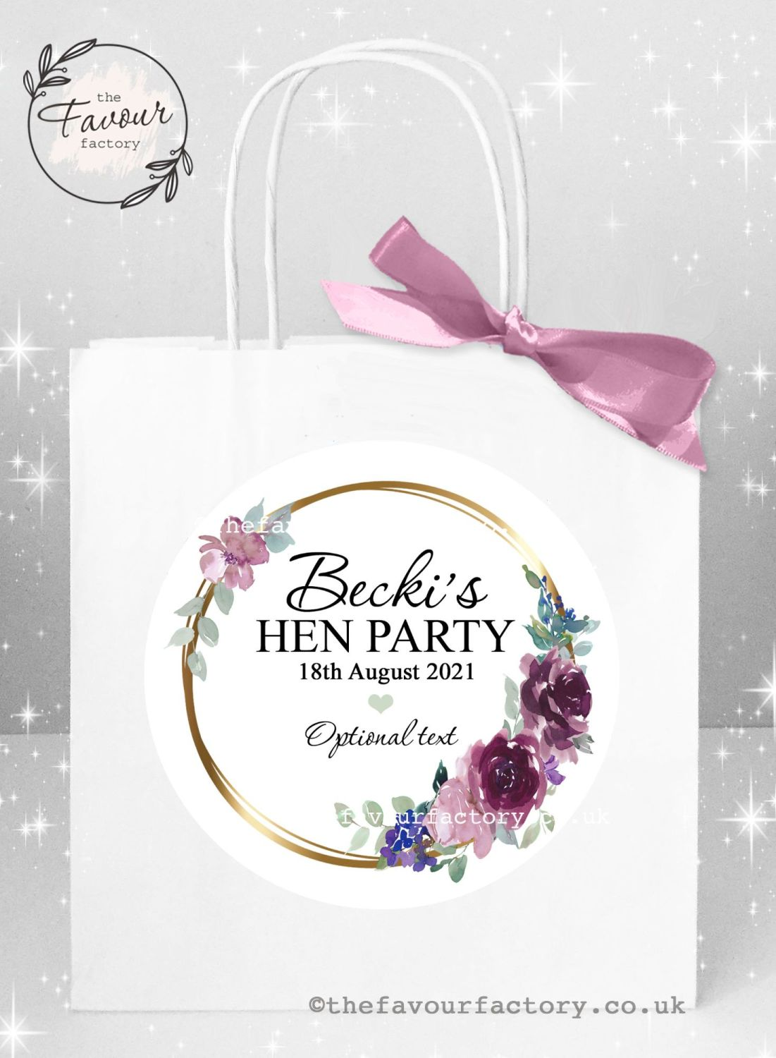 Personalised Hen Party Bags Purples And Plums Floral Frame x 1