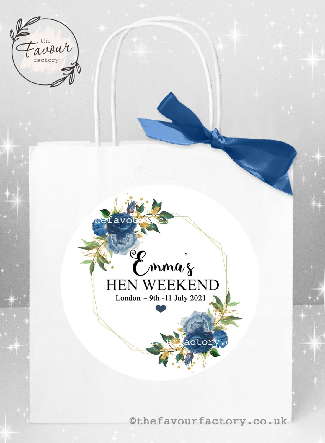 Personalised Hen Party Bags Blue Floral Geometric Frame x 1