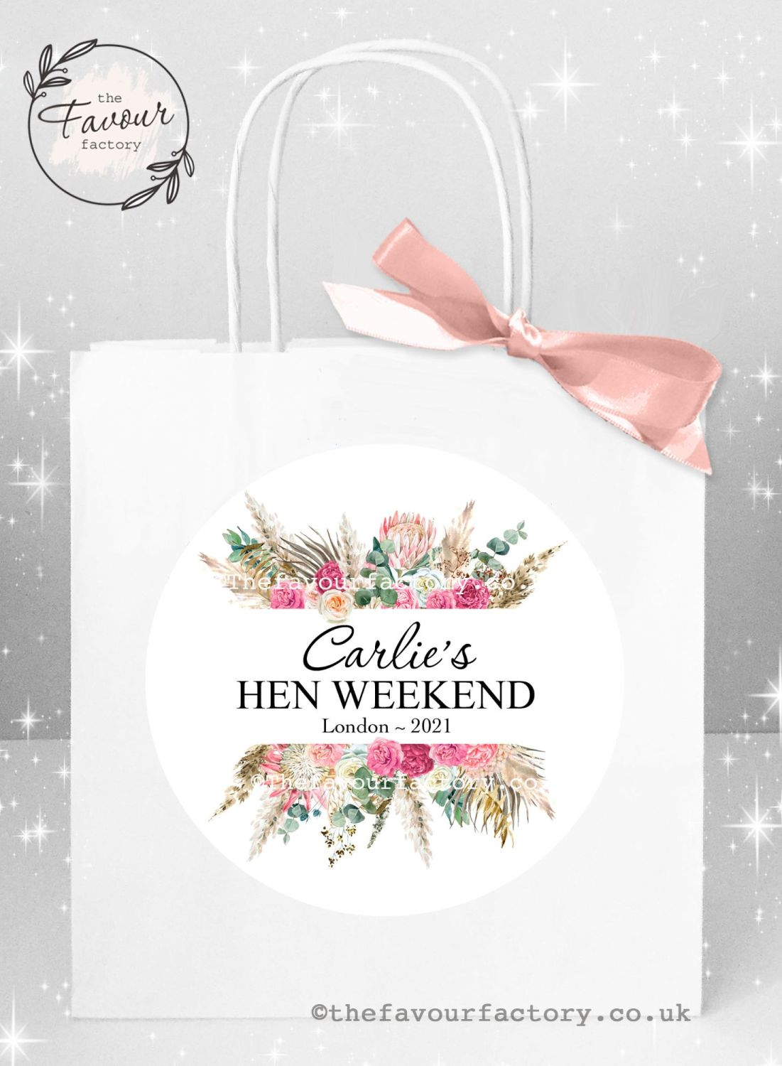 Personalised Hen Party Bags Boho Pampas Bouquet x 1