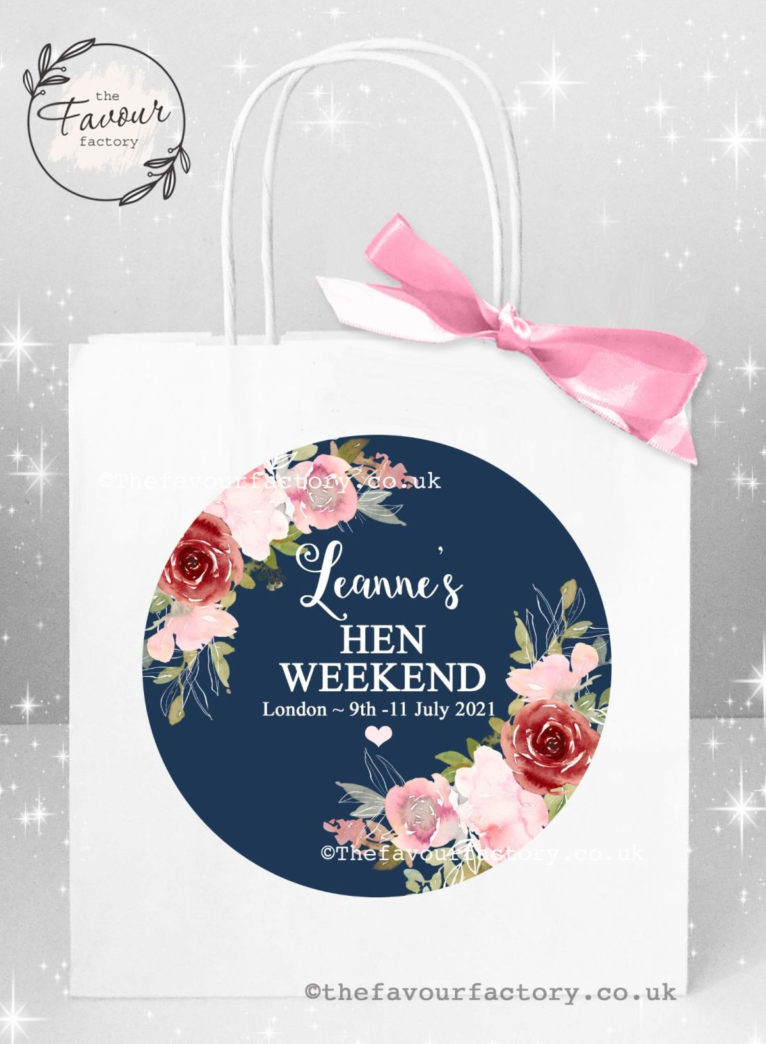 Personalised Hen Party Bags Navy Blush And Burgundy Florals x 1